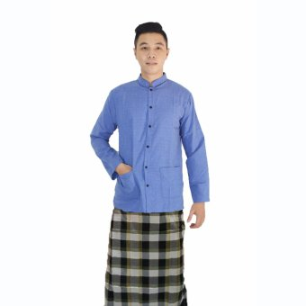 Jfashion Promo Baju Koko free Sarung - Yusuf biru