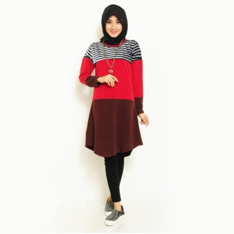 Jfashion Three Tones Midi Dress Shelby - Merah