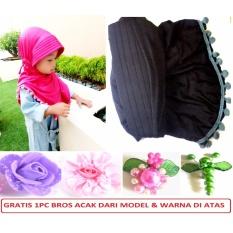Jilbab/Hijab Instan Anak Lucu Imut Serut Pom Pom - Black