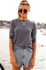 CatWalk Women Fashion Loose Round Neck Stripe Stretch A-Line T Shirt Tops S-XL (Black)