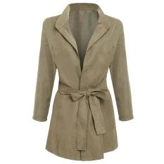 JinGLE Women Front Open Batwing Sleeve Windbreak Tunic Jacket (Apricot) - Intl