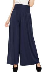JO & NIC Celana Wanita Kulot Allsize Pleated Long Culotte Pants - Fit to Big Size - Navy