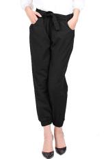 JO & NIC Sweet Tie Jogger Pants - Celana Wanita - Hitam