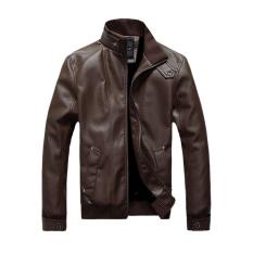 GE British Men's Stand-Collar Zipper Long Sleeve Coat Jacket (Brown)
