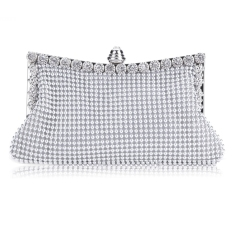 GE Clutch Women's Handbag Lady Party Crystal Evening Bags Silver