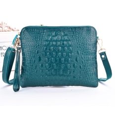 GE Crocodile Pattern Handbag Leather Shoulder Bag Messenger Bag Small Clutch Handbag Light Blue