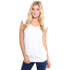 GE Lady Women Summer Fashion Casual Round Neck Short Raglan Sleeve Stretch Solid T Shirt Tops S-XL (White)