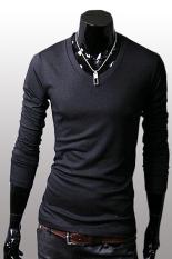 GE Men Slim Fit Solid Color Stylish V Neck Long Sleeve T-shirts Tee Tops M / L / XL / XXL (Black)