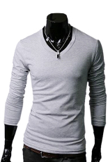 GE Men Slim Fit Solid Color Stylish V Neck Long Sleeve T-shirts Tee Tops M / L / XL / XXL (Gray)