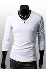 GE Men Slim Fit Solid Color Stylish V Neck Long Sleeve T-shirts Tee Tops M / L / XL / XXL (White)