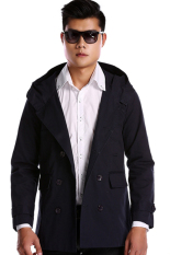GE Mens Double Breasted Trench Slim Fit Long Coat Hoodies Jacket (Blue)