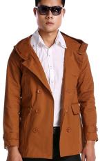 GE Mens Double Breasted Trench Slim Fit Long Coat Hoodies Jacket (Brown)