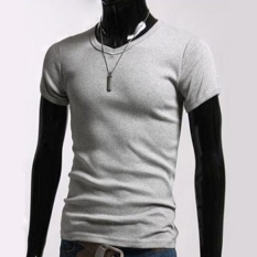 GE Men's Stylish V-Neck Short Sleeve Slim T-shirt Size S / M / L / XL (Gray)