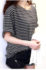 Jo.In New Basic Shirt Top Women Girl Loose Round Neck Strip Half-sleeve T-shirt (Black)