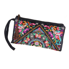 GE Women Bag Handbag Wallet Purse National Retro Embroidered Phone Change Coin with Tassel