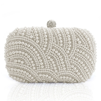 Jo.In Women Clutch Bag Pearl Beaded Party Bridal Handbag Wedding Evening Purse White