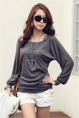 GE Women's Fashion Batwing Sleeve Autumn Winter Shirt Warm Base Shirt Tops Blouse M-XL (Gray)