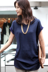 GE Women's V-neck Short Sleeve Big Size Loose Clothing Ladies Blouses Shirt Office / Casual Wear S-XXL (Dark Blue) (Intl)