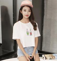JOY Korean Version Of Fashion Printing Short Section Was Thin T-shirt White - Intl