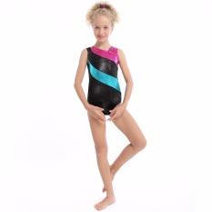 JS 2017 Girls Ballet Sleeveless Gymnastics Sparlking Colors Patchwork Tank Leotards B008 Black - intl