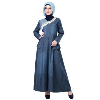 Jual Gamis / Busana Muslim Wanita | Inficlo - SHJ 206 | WARNA : BIRU TUA | BAHAN : JEANS