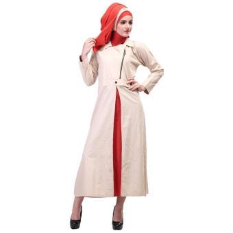 Jual Gamis / Busana Muslim Wanita | Inficlo - SHJ 348 | WARNA : ORANGE KREM | BAHAN : COTTON CIGARET