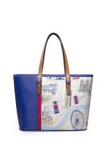 JUST STAR High Quality Faux Leather Purse Tote Shopper Shoulder Bag Handbag British Style Cartoon Girl (Blue)