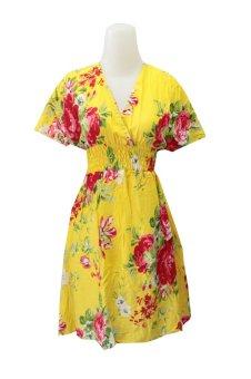 Kampung Souvenir - Dress Bolong Rayon - Yellow With Red Roses - Kuning