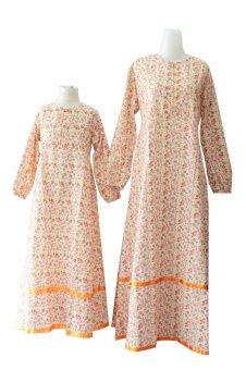 Kampung Souvenir - Gamis Couple Flowers Size M - Orange