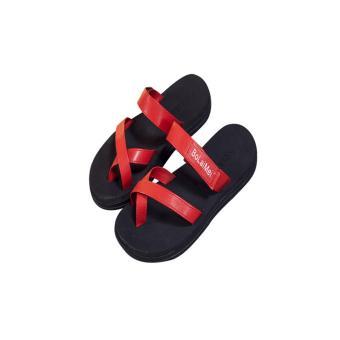 K&S Fashion Women Summer Flip Flop Thongs Sandals Beach Slipper Red - intl