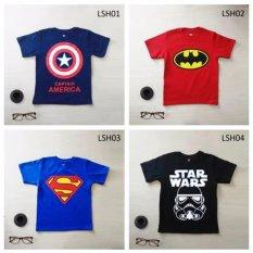 Kaos Anak Laki-Laki Super Hero (Satu Set Isi Empat)