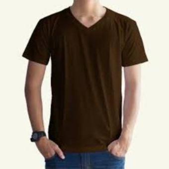 Kaos Oblong Polos Lengan Pendek V-Neck Unisex T-Shirt - Coklat