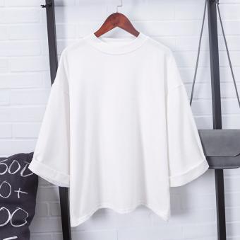 Kaos Wanita Satu Warna Lengan Panjang Sedang Kerah Bulat Setengah Tinggi Model Longgar Gaya Korea (