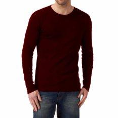 Kaos55 Kaos T-Shirt O-Neck Lengan Panjang Slim - Merah Maroon