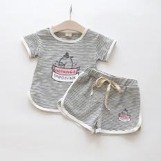 Kapas baru bayi bergaris t-shirt (Angkatan Laut garis-garis biru)