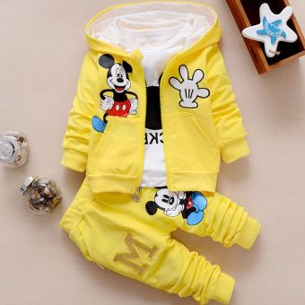 Musim semi musim gugur Set pakaian anak baju bayi laki-laki palsudua potong baju anak