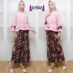 Kembar Stelan Celana Kulot + Atasan Blouse Pink ( No Pasmina)