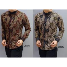 Kemeja Batik Pria Slimfit LS1137D [Grey] Koko Kombinasi Muslim Jeans