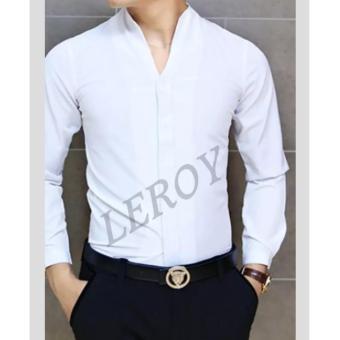Kemeja Cowok Lengan Panjang Warna Putih Kemeja Pria Kemeja Slim Kemeja Slim Fit .