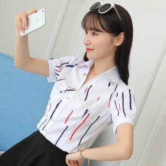 Kemeja Wanita Lengan Pendek/Panjang Bahan Sifon Motif Salur Pas Badan Gaya Korea Warna Putih