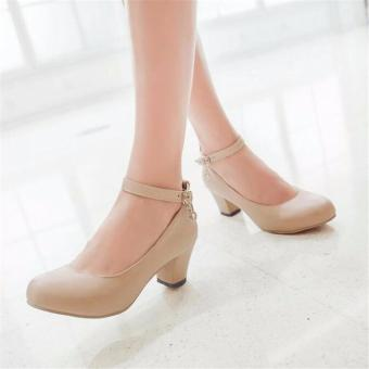 Khalista Collections Block Heels Women Synthetis Roundtoe Flatform Pantofel - Beige