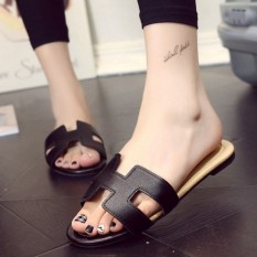 Khalista Collections Flats Sandal Loafers Flip Flops Synthetis Leather - Hitam