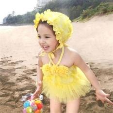 Kid Girl Lace Petals Princess Dress Cap 3 Pieces 7096 (Yellow) - intl