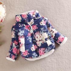 Kids Child Girl Flowers Coat Jackets Winter Thick Top Waistcoat Clothes Coat Navy - intl