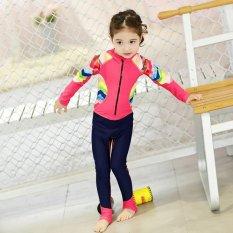 Kids Girl Cute Floral Print Patchwork Zipper Long Sleeve Swimsuit (Red Cap) - intl