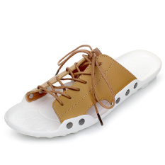 KLYWOO Fashion Casual Men Shoes Beach Genuine Leather Lace-Up Sandals (LightBrown) - Intl