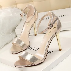 KOKO Fashion High-Heeled Shoes Woman Pumps Thin Heels Heeled Sandals Ankle Strap Suede Women Shoes Open Toe Round Toe High Heels Ladies Wedding Shoes (Gold)