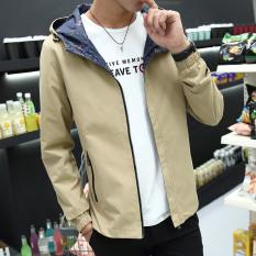 Korea Fashion Style Pria Musim Semi Baru Kasual Jaket Berkerudung Jas (Khaki) (Khaki)