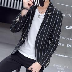 Korea Fashion Style pria musim semi dan musim gugur baru jas Slim jas (Hitam)