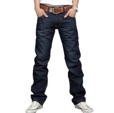Korea Men Slim Fit Classic Jeans Trousers New Straight Leg (Blue) (EXPORT)